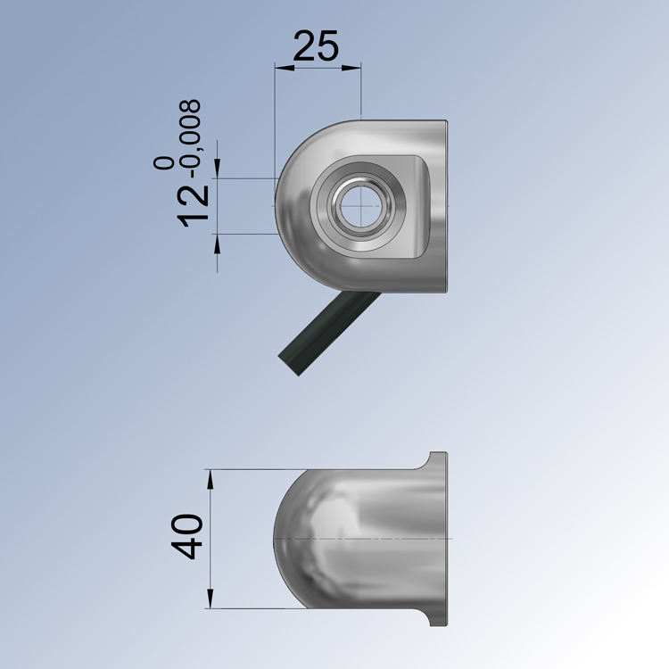 Hinge eye with spherical bearings